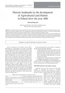 Historic landmarks in the development of Agricultural Land Market in ...