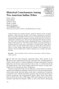 Historical Consciousness Among Two American Indian Tribes