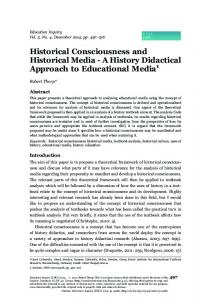 Historical Consciousness and Historical Media - A History Didactical ...