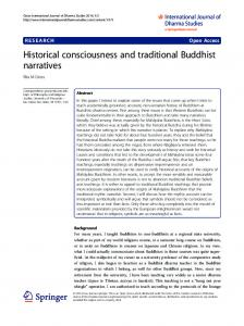 Historical consciousness and traditional Buddhist narratives ...