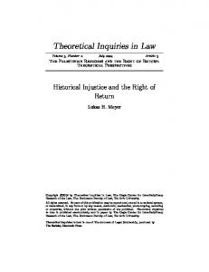 Historical Injustice and the Right of Return