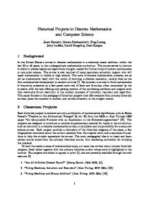 Historical Projects in Discrete Mathematics and Computer Science