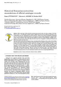 Historical Romanian meteorites: emendations of ... - Scholar Commons