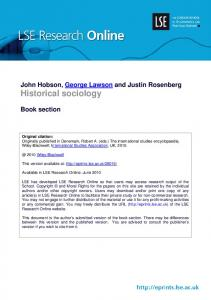 Historical sociology - LSE Research Online