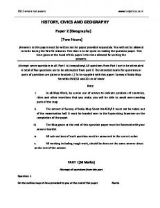 HISTORY, CIVICS AND GEOGRAPHY Paper 2 - Target ICSE