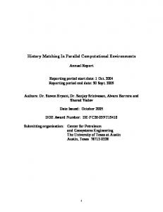 History Matching In Parallel Computational Environments - OSTI.GOV