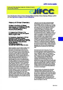 History of Clinical Chemistry - IFCC