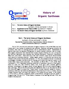 History of Organic Syntheses 8-13-13