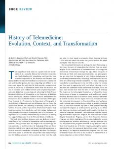 History of Telemedicine: Evolution, Context, and Transformation