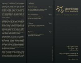 History Of Traditional Thai Massage Packages - Therapeutic Thai ...