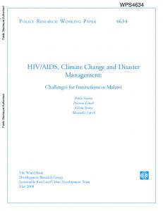 HIV/AIDS, Climate Change and Disaster Management