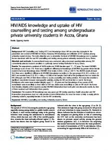 HIV/AIDS knowledge and uptake of HIV counselling ... - BioMedSearch