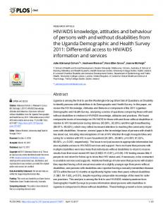 HIV/AIDS knowledge, attitudes and behaviour of persons with ... - PLOS