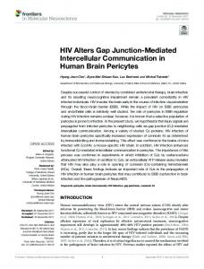 HIV Alters Gap Junction-Mediated Intercellular