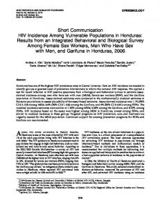 HIV Incidence Among Vulnerable Populations in Honduras