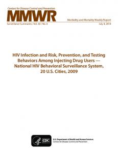 HIV Infection and Risk, Prevention, and Testing Behaviors Among ...