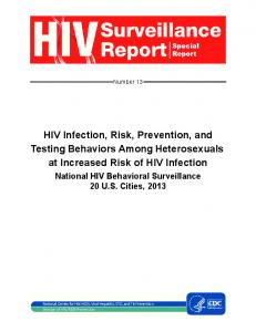 HIV Infection, Risk, Prevention, and Testing Behaviors among ...
