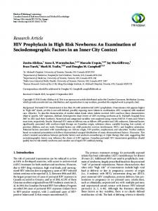 HIV Prophylaxis in High Risk Newborns: An Examination of ...