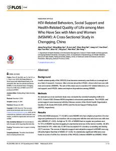 HIV-Related Behaviors, Social Support and Health