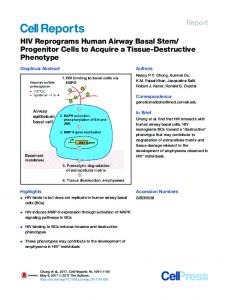 HIV Reprograms Human Airway Basal Stem/Progenitor ... - Cell Press