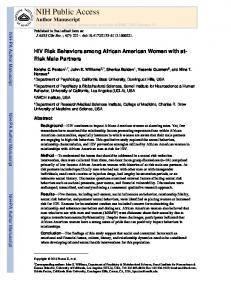 HIV Risk Behaviors among African American Women with at-Risk ...