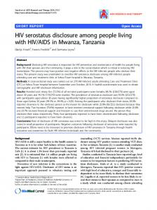 HIV serostatus disclosure among people living with ... - BioMedSearch