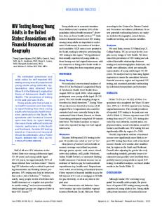 HIV Testing Among Young Adults in the United States: Associations ...