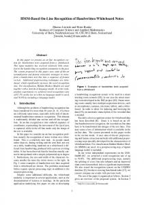 HMM-Based On-Line Recognition of Handwritten ... - Semantic Scholar