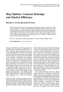 Hog Options: Contract Redesign and Market Efficiency - AgEcon Search