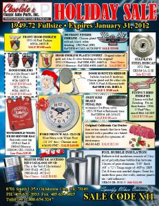HOLIDAY SALE - Classic Auto Parts