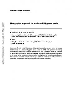 Holographic approach to a minimal Higgsless model