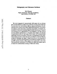 Holography and Riemann Surfaces