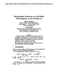 Holomorphic Functions on the Mixed Norm Spaces on the ... - YSU