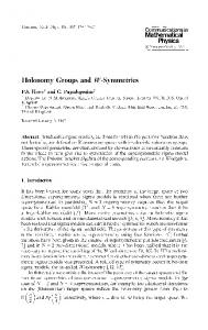 Holonomy Groups and JF-Symmetries - Project Euclid