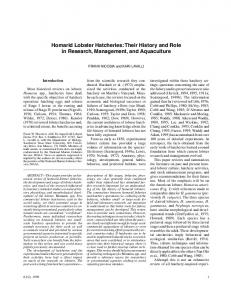 Homarid Lobster Hatcheries - NMFS Scientific Publications Office