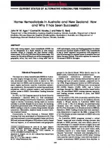 Home Hemodialysis in Australia and New Zealand - Wiley Online Library