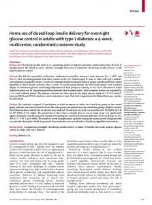 Home use of closed-loop insulin delivery for overnight ... - The Lancet