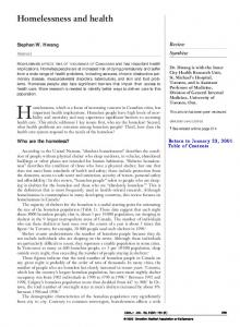 Homelessness and health - Canadian Medical Association Journal