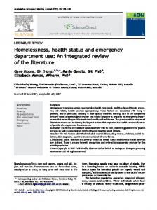 Homelessness, health status and emergency department use: An ...