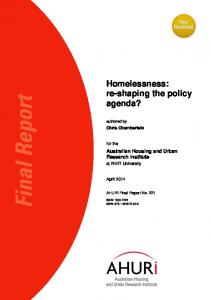 Homelessness: re-shaping the policy agenda? - Australian Housing ...