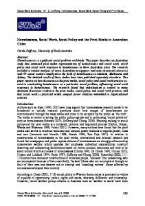 Homelessness, Social Work, Social Policy and the Print Media in ...