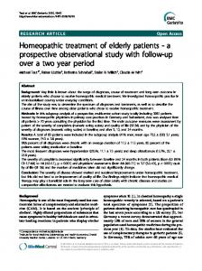 Homeopathic treatment of elderly patients - Springer Link