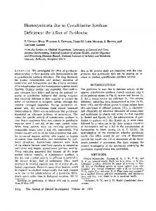 Homocystinuria due to Cystathionine Synthase - Journal of Clinical ...
