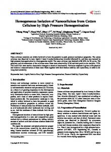 Homogeneous Isolation of Nanocellulose from Cotton Cellulose by ...