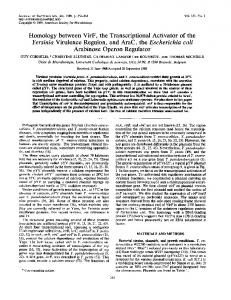 Homology between VirF, the Transcriptional Activator of the Yersinia ...