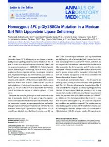 Homozygous LPL p.Gly188Glu Mutation in a ... - Semantic Scholar