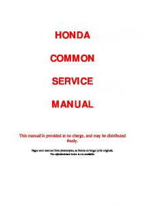 Honda Common Service Manual Pdf