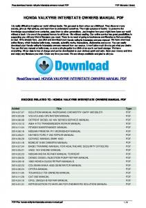 Honda Valkyrie Interstate Owners Manual - Free...
