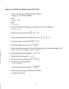Honors Pre-Calculus First Quarter Exam Study Guide I
