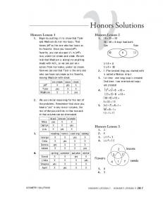 Honors Solutions - Math-U-See